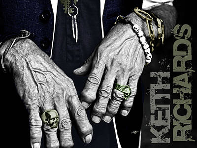 Cool Jewelry Painting - Keith Richards Hands Rolling Stones Color Name by Tony Rubino