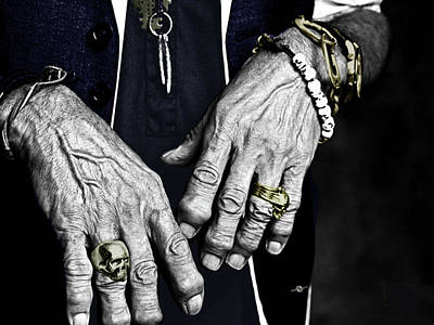 Cool Jewelry Painting - Keith Richards Hands Rolling Stones Color by Tony Rubino