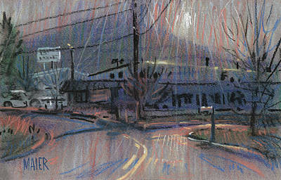 Telephone Poles Painting - Kennesaw's Shadow by Donald Maier