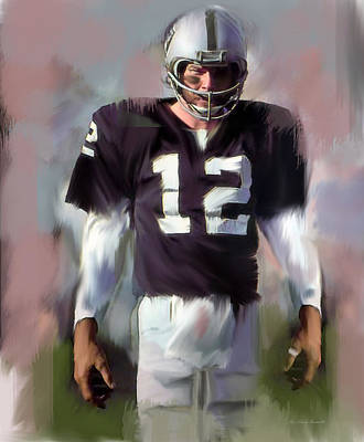 Quarterback Drawing - Kenny Stabler  Agony Of Greatness Iv by Iconic Images Art Gallery David Pucciarelli