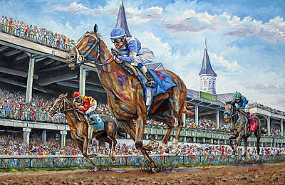 Kentucky Derby - Horse Racing Art Original by Mike Rabe