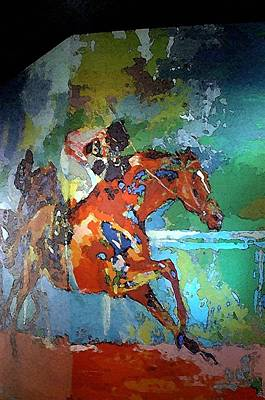 Kentucky Horse Park - Mural Of Horse Race  Print by Thia Stover