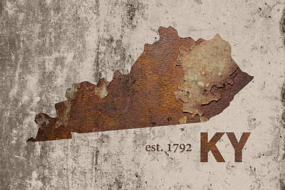 Kentucky State Map Industrial Rusted Metal On Cement Wall With Founding Date Series 002 Print by Design Turnpike
