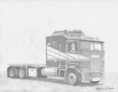 Classic Truck Drawing - Kenworth Aerodyne Cabover Semi Truck Art Print by Stephen Rooks