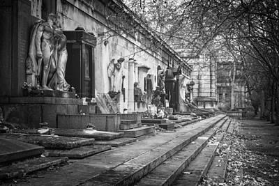 Kerepesi Cemetery Budapest Bw Print by Joan Carroll