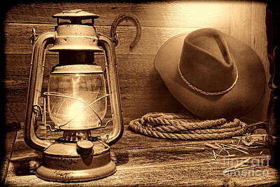 Kerosene Lantern Print by American West Legend By Olivier Le Queinec