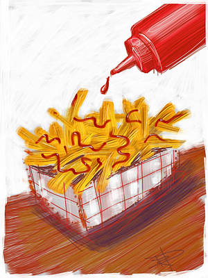 Fries Digital Art - Ketchup And Fries by Russell Pierce