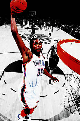 Oklahoma City Thunder Mixed Media - Kevin Durant Taking Flight by Brian Reaves