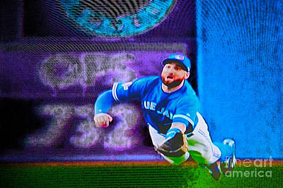 Kevin Pillar In Action II Print by Nina Silver