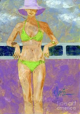 Beach Model Painting - Key Lime Bikini by P J Lewis