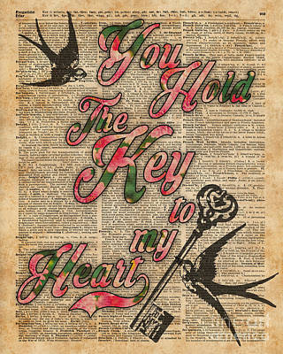Swallow Mixed Media - Key To My Heart Dictionary Art by Jacob Kuch