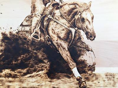 Pyrography Drawing - Kicking Up Some Dirt by Paper Horses Jacquelynn Adamek