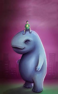 Hippopotamus Digital Art - Kid Rides Giant Pet by Rui Barros