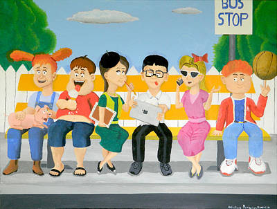 Kids At The Bus Stop Original by Winton Bochanowicz