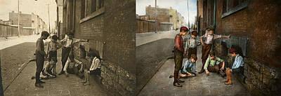 Clockwork Orange Photograph - Kids - Cincinnati Oh - A Shady Game 1908 - Side By Side by Mike Savad