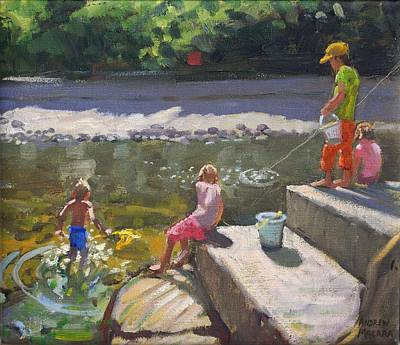 Kids Fishing   Looe   Cornwall Print by Andrew Macara