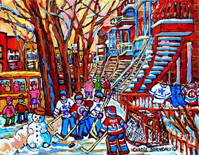 Of Verdun Hockey Scenes Montreal Street Scene Artist Carole Painting - Kids Hockey Fun Off Rue Wellington Red Winding Staircase Verdun Memories Yellow School Bus   by Carole Spandau