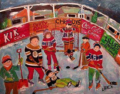 Painting - Kid's Hockey Montcalm Park Chomedey by Michael Litvack