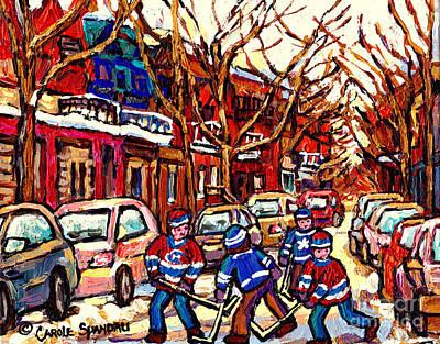 Depanneur Painting - Kids Playing Street Hockey After The Snowfall Verdun Montreal Winter Scene Art Carole Spandau        by Carole Spandau