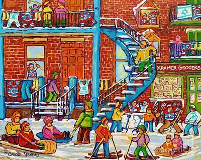 Of Verdun Hockey Scenes Montreal Street Scene Artist Carole Painting - Kids Winter Playground Kramer's Grocer Street Scene Toboggan Skiiers Hockey Art Canadian Paintings   by Carole Spandau