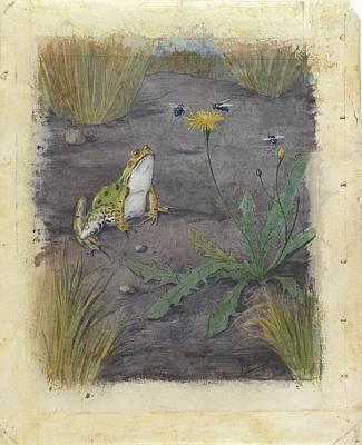 Poster Painting - Kikker Bij Een Paardebloem Met Vliegen by MotionAge Designs