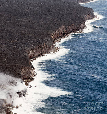 Flow Photograph - Kilauea Lava Enters The Ocean - Expanding Coastline.  by Dani Prints and Images