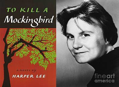 Famous Book Digital Art - Kill A Mockingbird Poster With Harper Lee Portrait  by John Malone