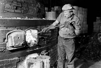 Ceramics Photograph - Kiln Fireman At Southern Potteries - Elroy Tennessee 1933 by Mountain Dreams