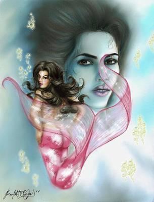 Kim Kardashian Drawing - Kim The Mermaid by Scarlett Royal