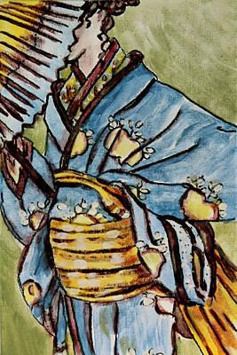Fiber Art Painting - Kimono Lady 1 by Laura Heggestad