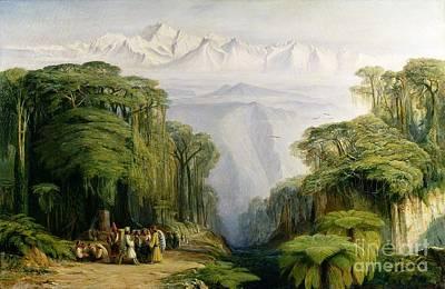 Kinchinjunga From Darjeeling Print by Edward Lear
