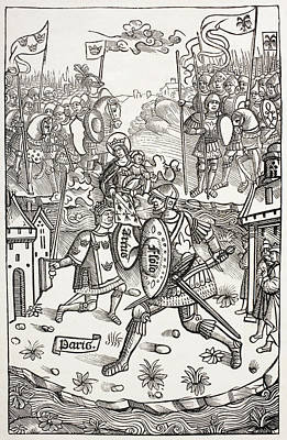 Knight Drawing - King Artus, Or Arthur, Protected By The by Vintage Design Pics