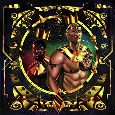 Painting - King Kevinhart And King Dwayne Johnson by Kenal Louis