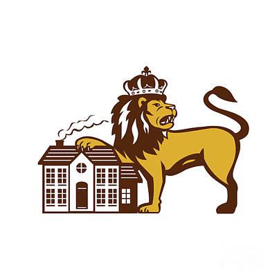 King Lion Paw On House Isolated Retro Print by Aloysius Patrimonio