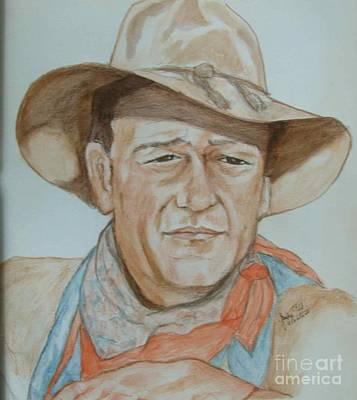 John Wayne Drawing - King Of Cowboys by Sandra Valentini