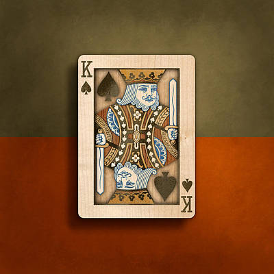 Playing Cards Photograph - King Of Spades In Wood by YoPedro