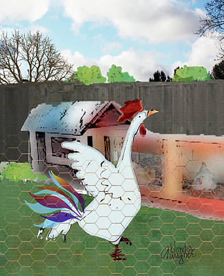 Rooster Digital Art - King Of The Hen House by Arline Wagner