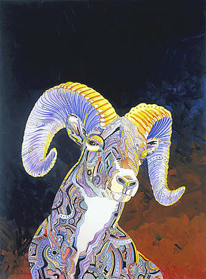 Big Horn Sheep Painting - King Of The Mountain by Bob Coonts