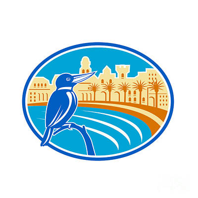 Kingfisher Digital Art - Kingfisher Mediterranean Coast Oval Retro by Aloysius Patrimonio