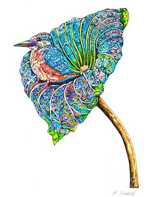Kingfisher Drawing - Kingfisher On Flower by Karen Sirard