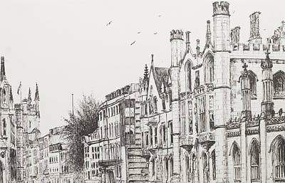 Architecture Drawing - Kings College Cambridge by Vincent Alexander Booth