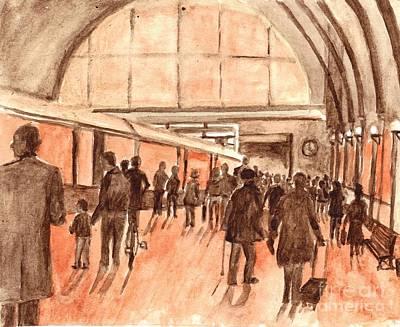 Sepia Ink Drawing - Kings Cross Railway Station London England by Carol Wisniewski