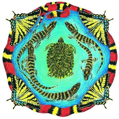 Blue Swallowtail Drawing - Kingsnake Mandala 1 by Tim McCarthy