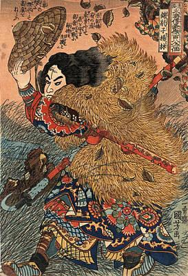 Utagawa Kuniyoshi Drawing - Kinhyoshi Yorin Hero Of The Suikoden by Utagawa Kuniyoshi