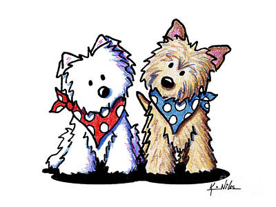 Westie Terrier Drawing - Kiniart Butch And Sundance by Kim Niles