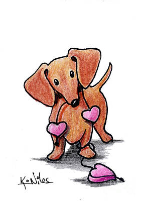 Doxie Drawing - Kiniart Heartstrings Doxie by Kim Niles