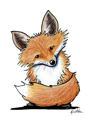 Red Foxes Drawing - Kiniart Red Fox by Kim Niles