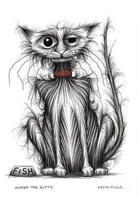 Moggy Drawing - Kipper The Kitty by Keith Mills