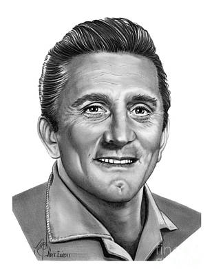 Famous People Drawing - Kirk Douglas by Murphy Elliott