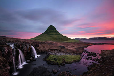 Kirkjufellsfoss Waterfalls Iceland Portrait Version Print by Larry Marshall